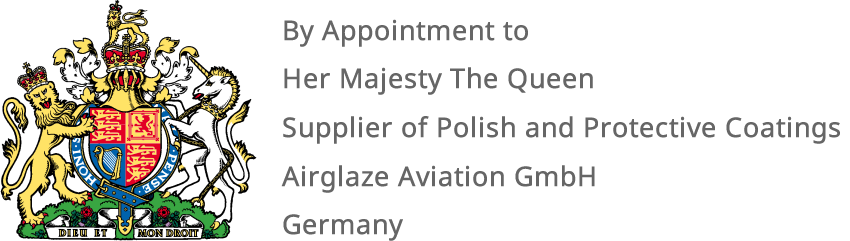By Appointment to Her Majesty The Queen, Supplier of Polish and Protective Coatings, Airglaze Aviation GmbH Germany